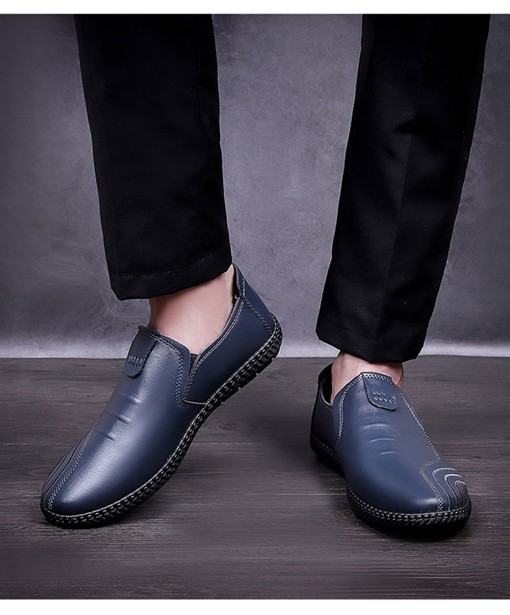 Comfortable outdoor breathable new recreational men's fashion shoes and leather shoes blue 38
