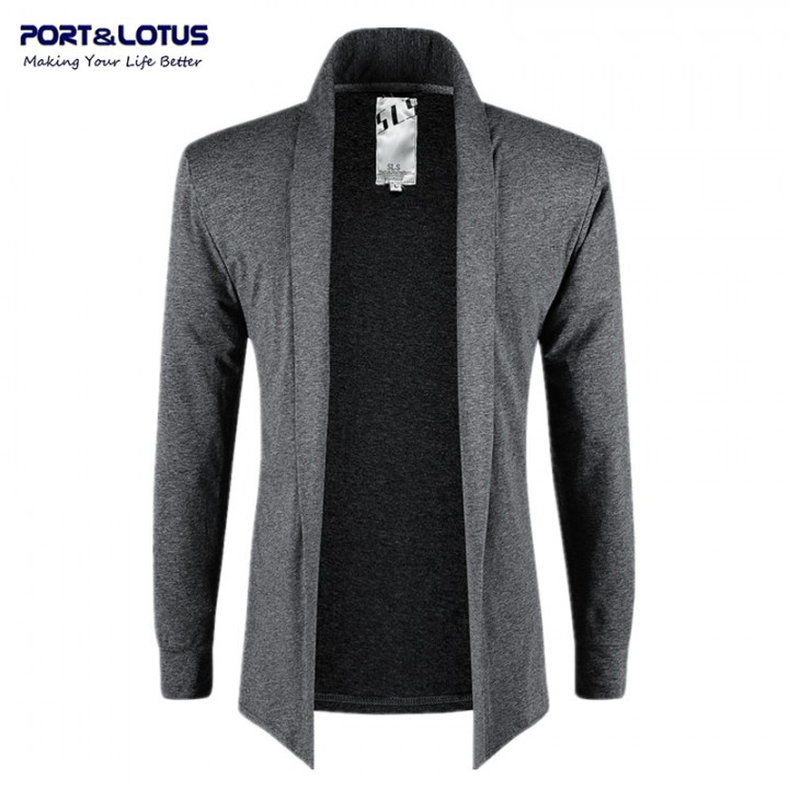 Men Fasion No Buttoms Thin Jackets Open Stitch 083 gray M