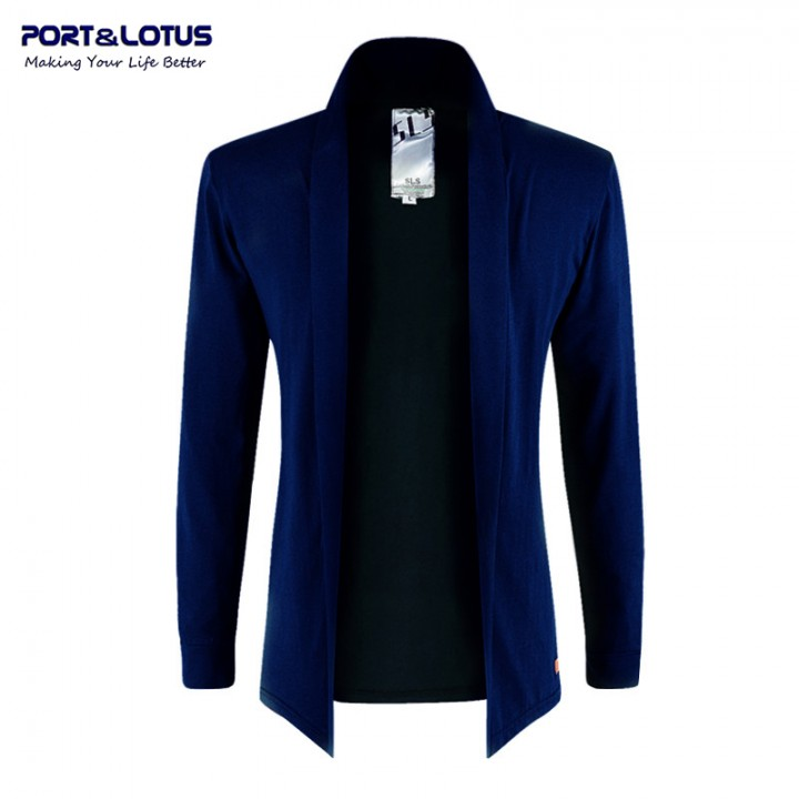 Men Fasion No Buttoms Thin Jackets Open Stitch 083 light blue M
