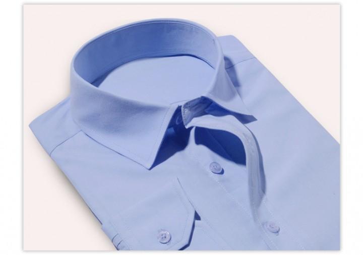Port&Lotus Men Dress Shirts Long Sleeve Business Male Casual Striped Pure Color Shirts 075 blue XL