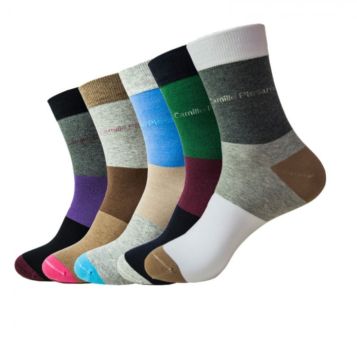 Men Socks(5pairs) New Fashion US Size 6-15 100% Cotton Big Size Colorful Patchwork 003 wholesale a color set L