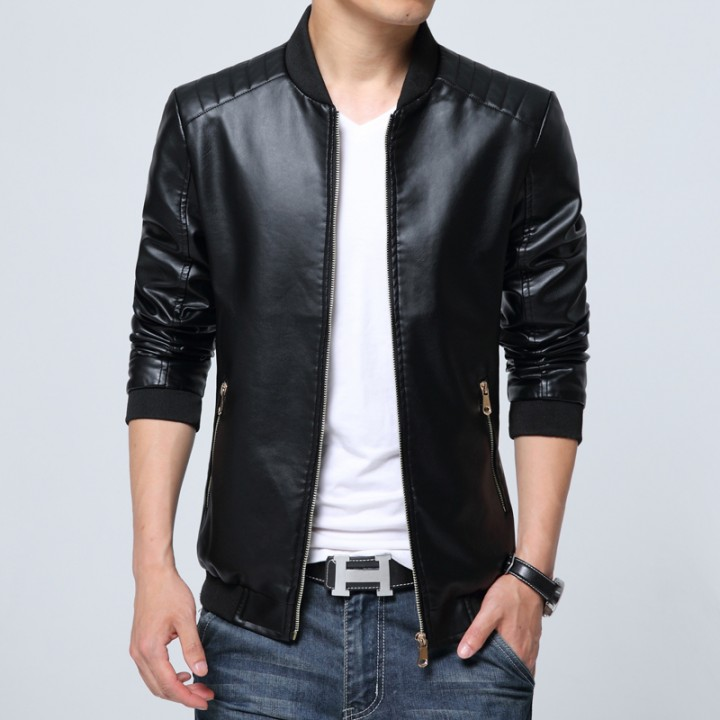 Port&Lotus Men Leather Jackets, Formal Outdoor Men Coats, 207HXTX8806 black L