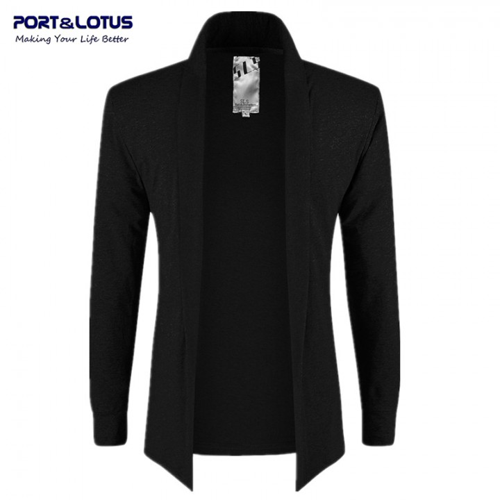 Men Fasion No Buttons Thin Jackets Open Stitch 083 black L