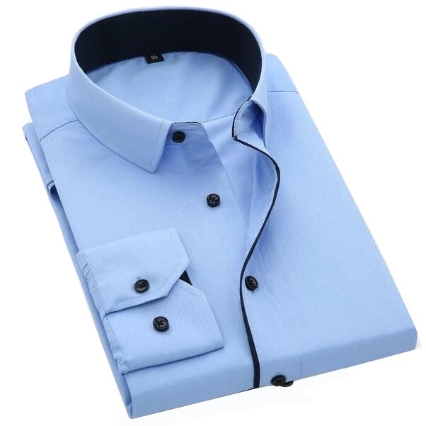 Port&Lotus Color Contrasted Men Dress Shirts 095 Long Sleeve Turn Down Collar Mens Clothing AM705 XL