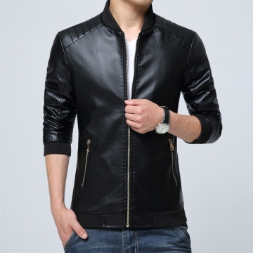 Port&Lotus Men Leather Jackets, Formal Outdoor Men Coats, 207HXTX8806 black l