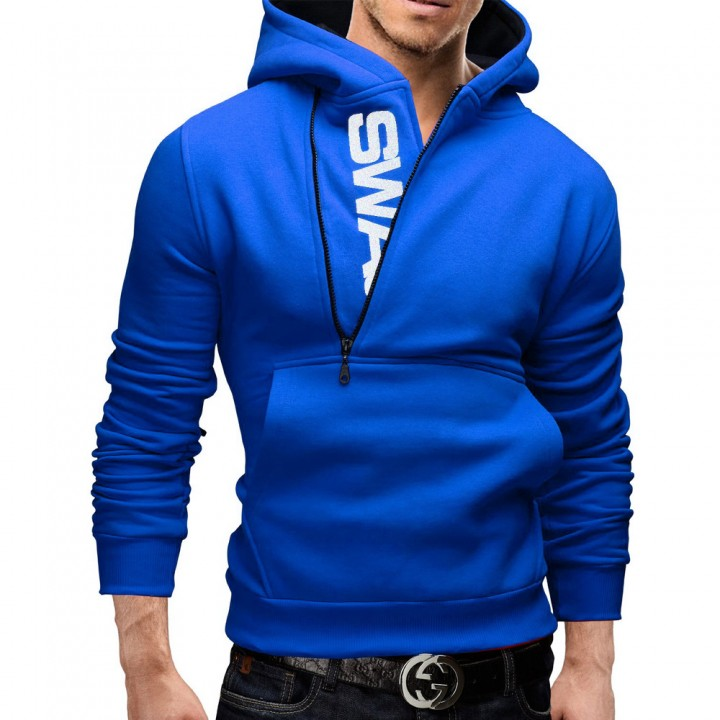 Men Hoodies HL006 Blue Black L