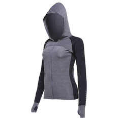 Yoga clothing female sports running jacket Slim thin breathable fitness clothes shirt long sleeves m gray