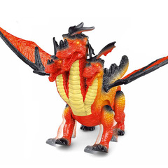 Electric simulation three-headed dragon toy red 27cm