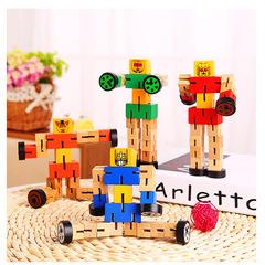 Children's toys wooden car people puzzle deformation wood robot tricolor 19cm