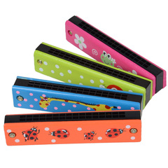 Children's wooden painted harmonica Multiple series 13cm