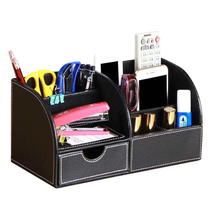 Multi-function desktop storage box Black Plain 28*14.5*14.5cm