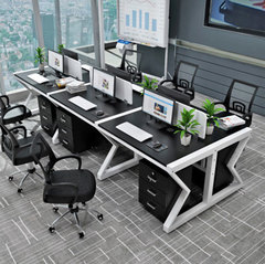 Simple modern steel-wood computer multi-person desk
