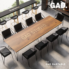 Modern minimalist solid wood conference table and chair office long table