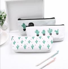 小清新仙人掌笔袋 帆布简约文具盒笔袋 a cactus