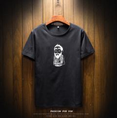 Wish international men's T-shirt fashion cartoon cartoon print tee summer short sleeve T-shirt black m other