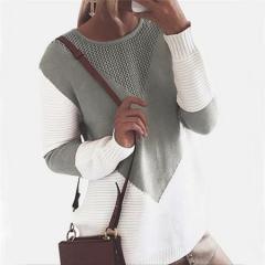 2018 Women's Amazon Aliexpress New Fall Winter Fashion Loose Knit Sweaters gray s