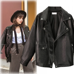 New Women's Blouse Loose Black Jacket Lapel PU Leather Jacket black xxl