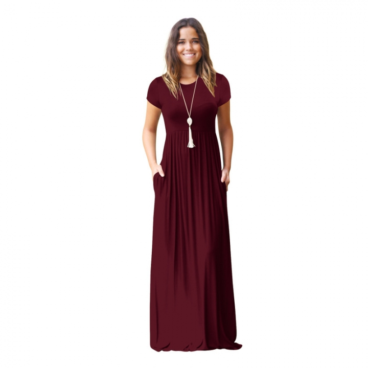 75ef54ca8fb European and American women s new long skirt Amazon short-sleeved casual  pocket maternity dress wine