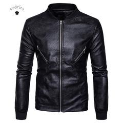 2018 New Style Men's wear, fashion leather, hem, collar and collar. black m