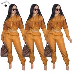 2018 hot sale European and American women's wear letter printing two colored windbreaker suit orange s