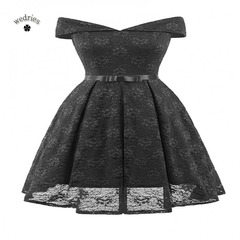 2018 one-neck bow lace sexy dress black s