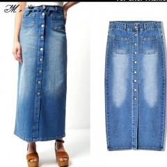 women Wrap buttock skirt women's high waist button up ladies wash long denim skirt medium long size blue xs(34)