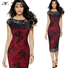 Big size lace embroidery dress hot style fashionable sexy pencil dress bag butt slim women red m
