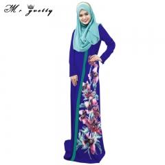 Moslem national dress digital printed skirt national dress blue m