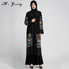 Embroidered Muslim gauze dress slim women black m
