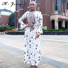 The new Muslim trumpet sleeve print dress, fashionable cardigan full length ankle-length print dress white m