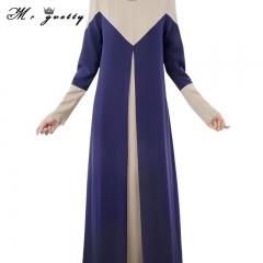 womenLong sleeved dress for Muslim women of 2018 long sleeved dress long skirt splice women's skirt blue m