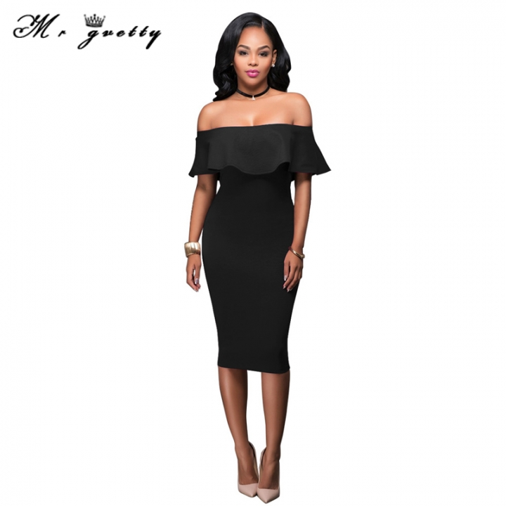 b29e632a4fc7 Women fashion slim casual dance dress with bare shoulders and buttocks  black s