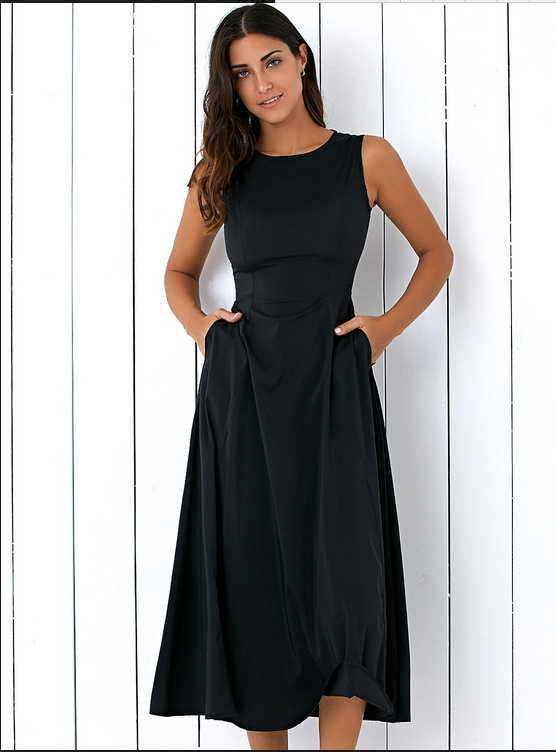 European and American explosions solid color round neck fashion dress  XXXXXL black  Product No  7709214. Item specifics  Brand  e129608d00412