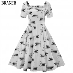 The new US side collar dress Swan printing large swing skirt female s as the picture shows