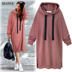 Autumn and winter new style hooded long-sleeved sweater women's long dress Brick red M