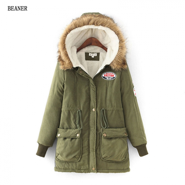 1821bc6d83f Winter thick warm jacket large size hooded long cashmere DrawString waist  collar wool coat female Army