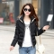 New winter padded hooded cotton female short paragraph slim down jacket female black m