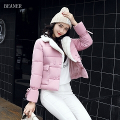 Winter coat female short winter thin bread clothes Slim small jacket new down jacket pink 2XL