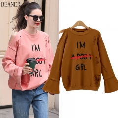 New letter sexy hollow strapless loose thin wave student sweater coat brown xl