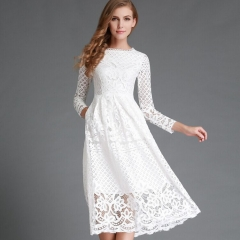 Explosion round neck lace long-sleeved dress Slim mid-length skirt summer m white