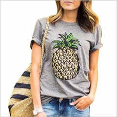 Gray female T-shirt spring and summer fruit print casual ladies fashion pineapple t-shirt gray m