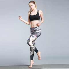 Europe and the United States 2018 spring new outdoor sports fitness yoga trousers printed yoga pants l HK50