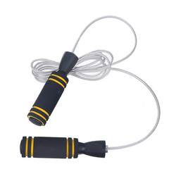 New Bearing White Wire Jumping Rope Two-Color Sponge Jumping Rope Fitness Racing Jumping Rope Black yellow 3m