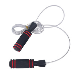 New Bearing White Wire Jumping Rope Two-Color Sponge Jumping Rope Fitness Racing Jumping Rope Black red 3m
