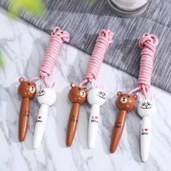 Wooden handle cartoon bear rabbit wooden jump pupils kindergarten sports jump rope color mixing 2.2m
