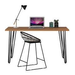 Simple modern solid wood desk Office desk and chair combination notebook desktop computer desk Pine 140*60*75Plate thickness 5cm