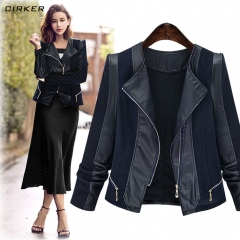 Large size women's autumn and winter loose long sleeve knitted thin leather jacket leather jacket black xl