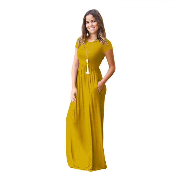 984b2eaee4a0b New MIDI dress amazon hot style short sleeved casual pocket dress - maternity  dress Yellow S