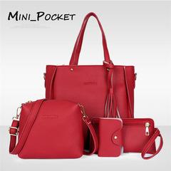 Women's bag new fashion lychee pattern four-piece cover mother bag tassel slung shoulder bag red average