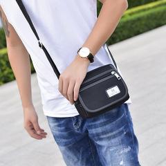 New fashion Korean men's bag Men's bag Men's shoulder messenger bag Backpack Oxford cloth bag black average